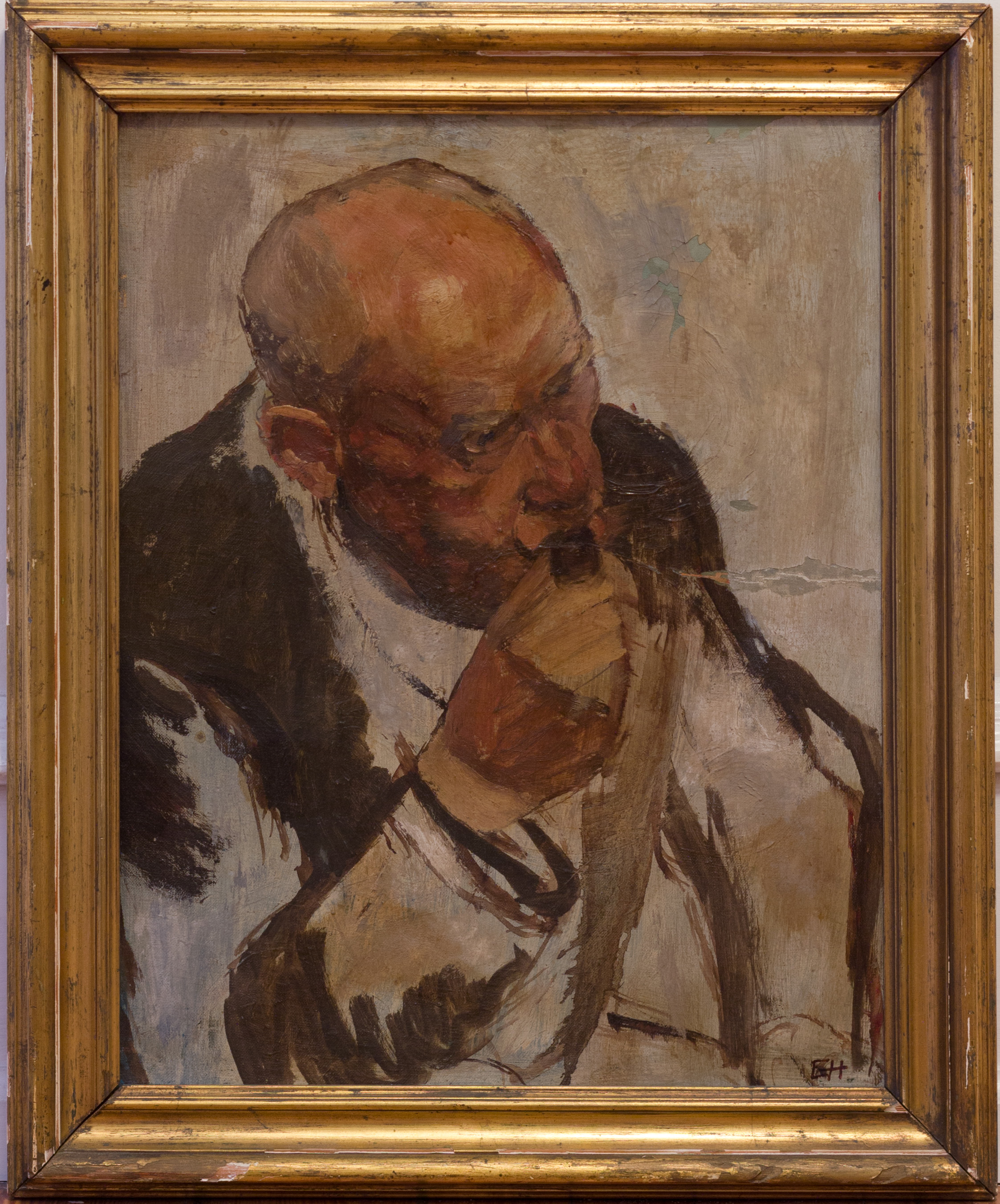 Painting: Portrait (#12) by Eleanor Hilowitz (1913 - 2007). 1948. Oil on canvas. 16 x 20. Framed.