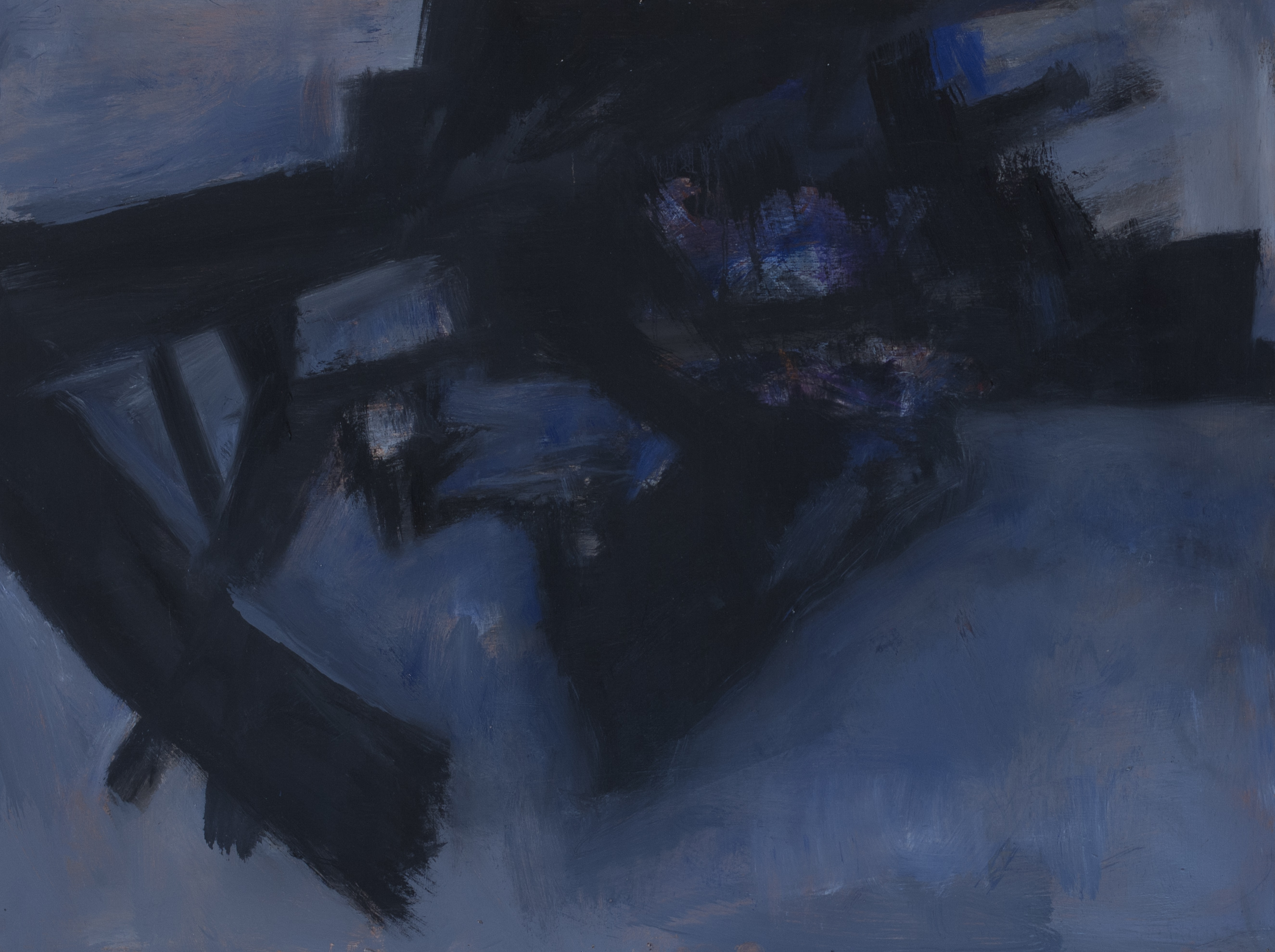 Painting: Blue Angle / Black & Blue (#24) by Eleanor Hilowitz (1913 - 2007)